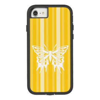 Capa iPhone 8/ 7 Listra do Victorian da mostarda com borboleta