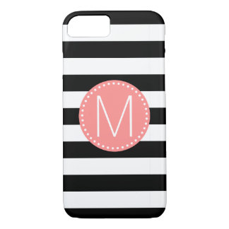 Capa iPhone 8/ 7 Listra preta & branca com monograma coral