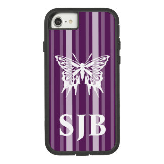 Capa iPhone 8/ 7 Listra roxa do Victorian com borboleta