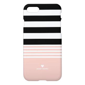 Capa iPhone 8/7 Listrado preto, branco & cor-de-rosa personalizado