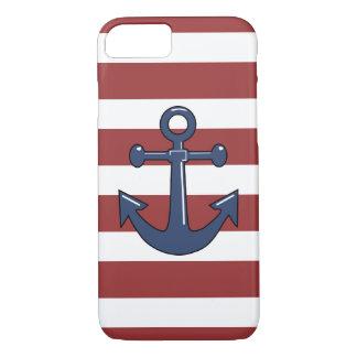 Capa iPhone 8/ 7 Listras brancas vermelhas da âncora náutica azul