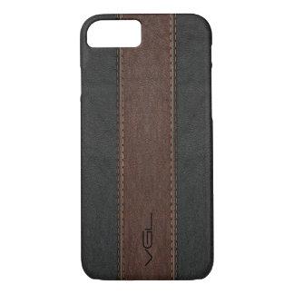 Capa iPhone 8/ 7 Listras de couro do vintage no preto & no Brown