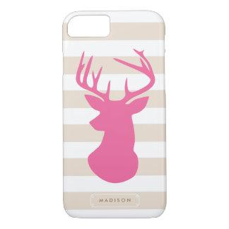 Capa iPhone 8/ 7 Listras de linho da cabeça cor-de-rosa elegante