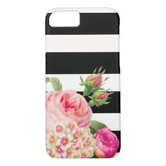 Capa iPhone 8/ 7 Listras de PixDezines/rosas ajustáveis do vintage