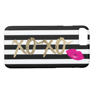 Capa iPhone 8/ 7 Listras dos lábios preto moderno & branco do rosa