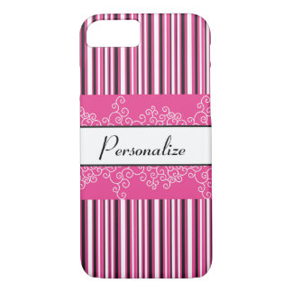 Capa iPhone 8/ 7 Listras e ondas cor-de-rosa