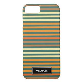 Capa iPhone 8/ 7 Listras finas verdes & nome feito sob encomenda da