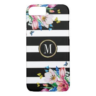 Capa iPhone 8/ 7 Listras & flores & borboletas pretas & brancas