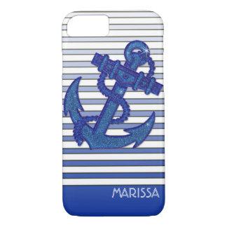 Capa iPhone 8/ 7 Listras náuticas de Ombre do barco de navigação da