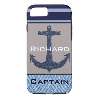 Capa iPhone 8/ 7 Listras náuticas do design & dos azuis marinhos da