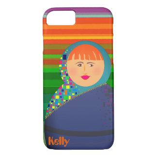 Capa iPhone 8/ 7 Listras vívidas personalizadas Kelly colorido da