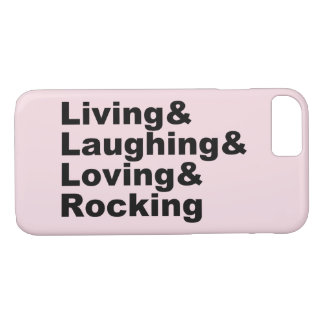 Capa iPhone 8/ 7 Living&Laughing&Loving&ROCKING (preto)