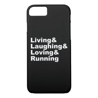 Capa iPhone 8/ 7 Living&Laughing&Loving&RUNNING (branco)