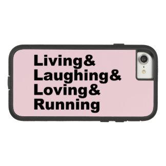 Capa iPhone 8/ 7 Living&Laughing&Loving&RUNNING (preto)