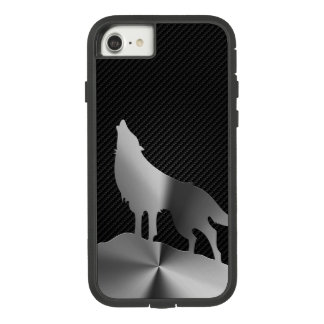 Capa iPhone 8/ 7 Lobo metálico do urro com fibra do carbono
