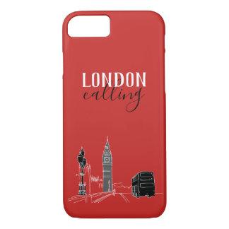 Capa iPhone 8/ 7 Londres que chama Big Ben moderno vermelho à moda