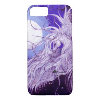 Capa iPhone 8/ 7 Lua voada de Pegasus do anjo unicórnio preto