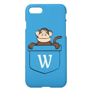 Capa iPhone 8/7 Macaco engraçado em um bolso Monogrammed