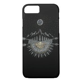 Capa iPhone 8/ 7 Mandala da cordilheira da lua e do céu nocturno