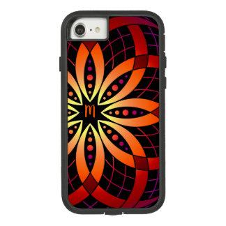 Capa iPhone 8/ 7 Mandala digital roxa alaranjada do ombre da arte