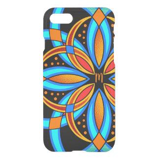 Capa iPhone 8/7 mandala monogrammed alaranjada azul da arte