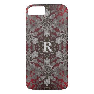 Capa iPhone 8/ 7 mandala vermelha do renascimento e preta metálica