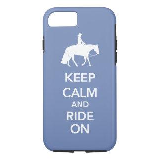 Capa iPhone 8/ 7 Mantenha a calma e monte-a no cavalo ocidental