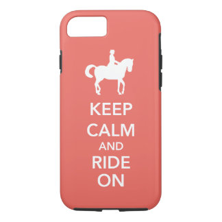 Capa iPhone 8/ 7 Mantenha a calma e monte-a no costume do cavalo do