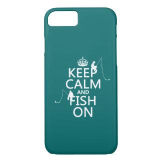 Capa iPhone 8/ 7 Mantenha a calma e pesque sobre - cores