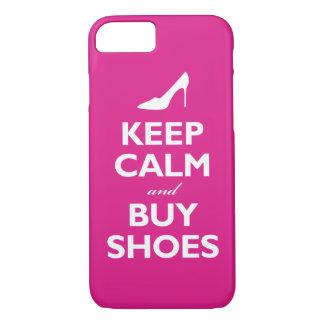 Capa iPhone 8/ 7 Mantenha calmo e compre calçados (o rosa quente)