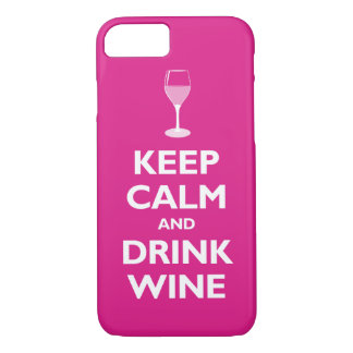 Capa iPhone 8/ 7 Mantenha vinho calmo e da bebida (o rosa quente)