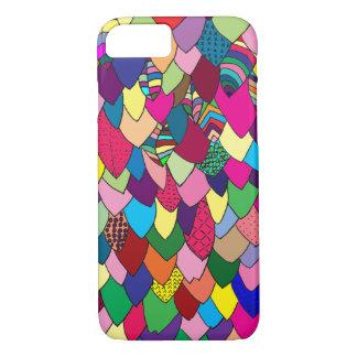 Capa iPhone 8/ 7 Mão | colorida moderna folhas tiradas