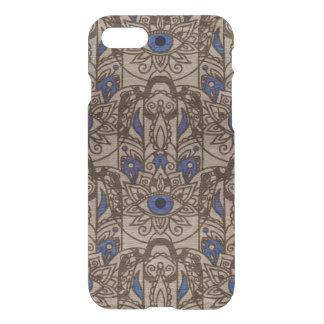 Capa iPhone 8/7 Mão de Pyrographed Hamsa com cor na madeira