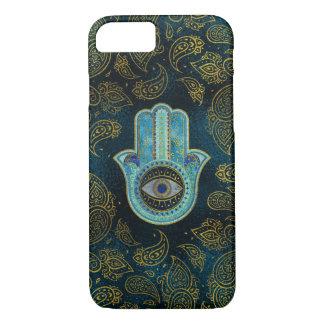Capa iPhone 8/ 7 Mão decorativa de Hamsa com fundo de paisley