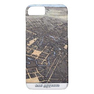 Capa iPhone 8/ 7 Mapa aéreo antigo da cidade de San Antonio, Texas