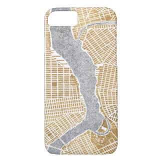 Capa iPhone 8/ 7 Mapa dourado da cidade de New York
