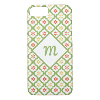 Capa iPhone 8/ 7 Margaridas bonitos verdes femininos e monograma de