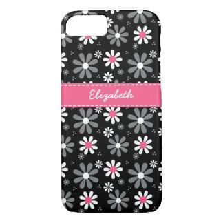 Capa iPhone 8/ 7 Margaridas femininos cor-de-rosa e pretas bonitos