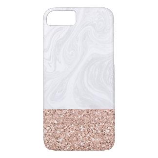 Capa iPhone 8/ 7 Mármore branco mergulhado no brilho cor-de-rosa do