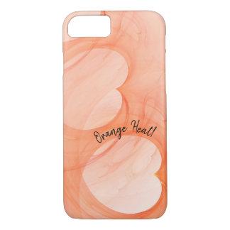 Capa iPhone 8/ 7 Máscaras de seda abstratas de corações alaranjados