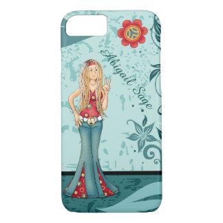 Capa iPhone 8/ 7 Menina do Hippie, sinal de paz e flores