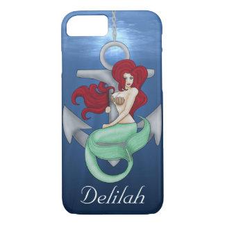 Capa iPhone 8/ 7 Menina do Pinup, sereia da âncora sob o oceano