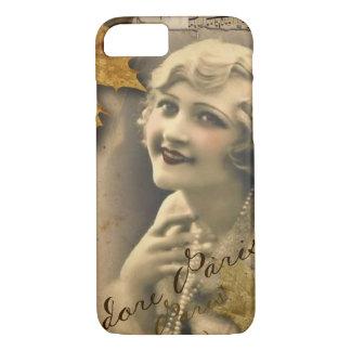 Capa iPhone 8/ 7 Menina gatsby do vintage 1920 das folhas de outono