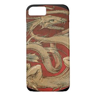 Capa iPhone 8/ 7 Mitologia do vintage, dragão asiático dourado