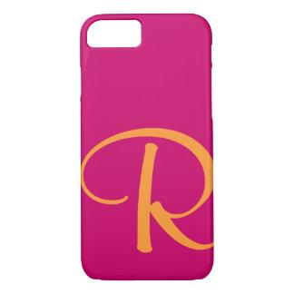 Capa iPhone 8/ 7 Monograma alaranjado brilhante do rosa quente