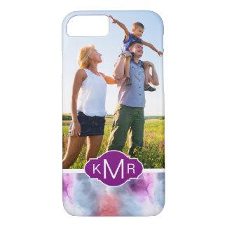 Capa iPhone 8/ 7 Monograma azul & cor-de-rosa abstrato da aguarela