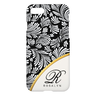 Capa iPhone 8/7 Monograma branco preto chique floral abstrato das