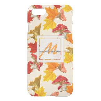 Capa iPhone 8/7 Monograma colorido das folhas e dos cogumelos de