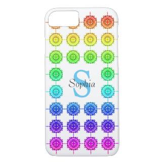 Capa iPhone 8/ 7 Monograma colorido do teste padrão do arco-íris