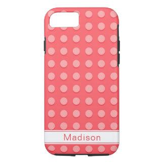 Capa iPhone 8/ 7 Monograma cor-de-rosa do teste padrão de bolinhas